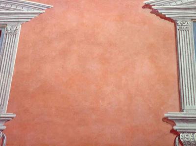 Portrait von Oskar Seus lachsfarben gemusterte Wand