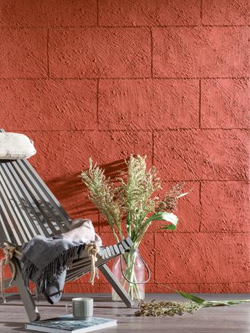 Kreative Maltechniken von Oskar Seus rote Steinwand