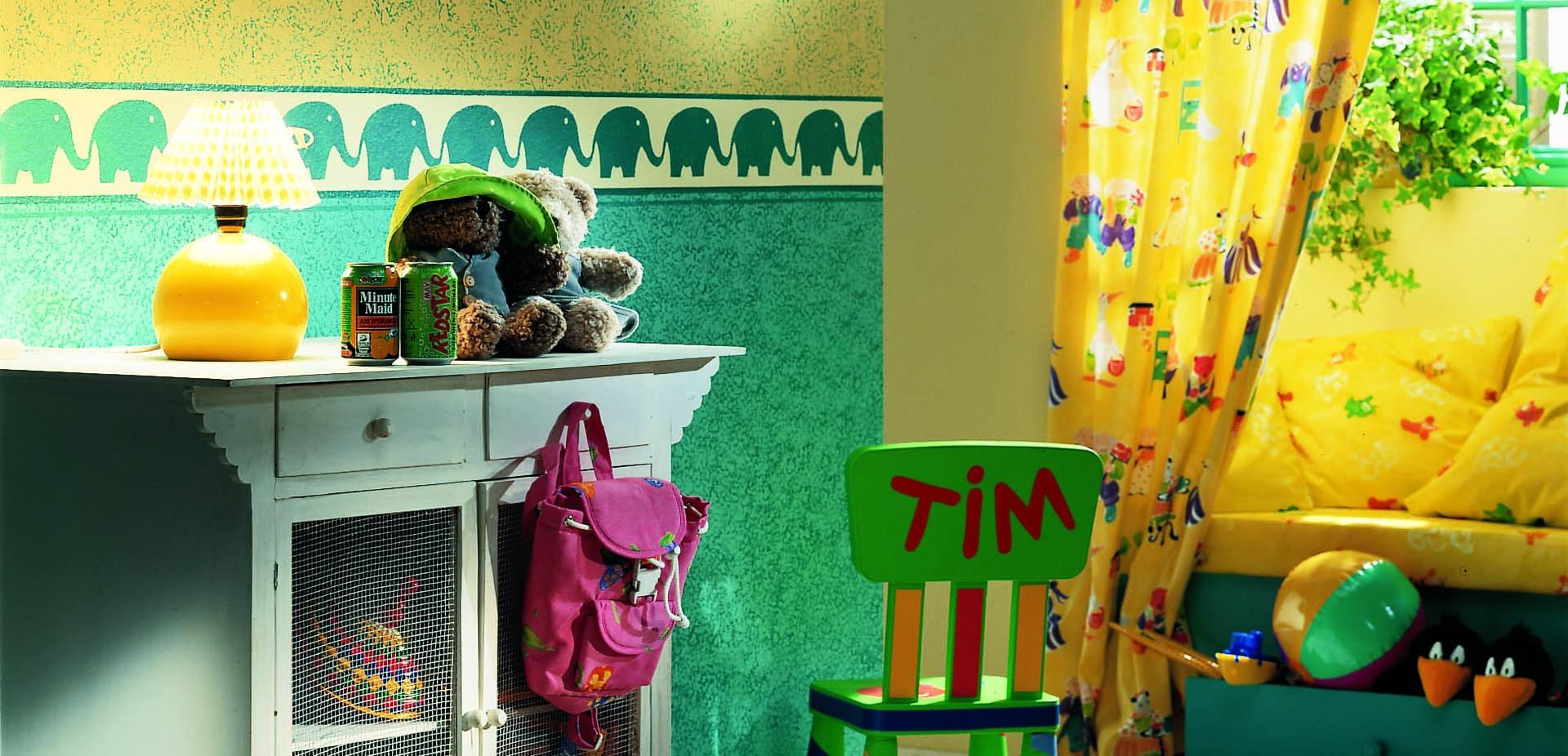 Startseite von Oskar Seus grün gemusterte Wand in Kinderzimmer